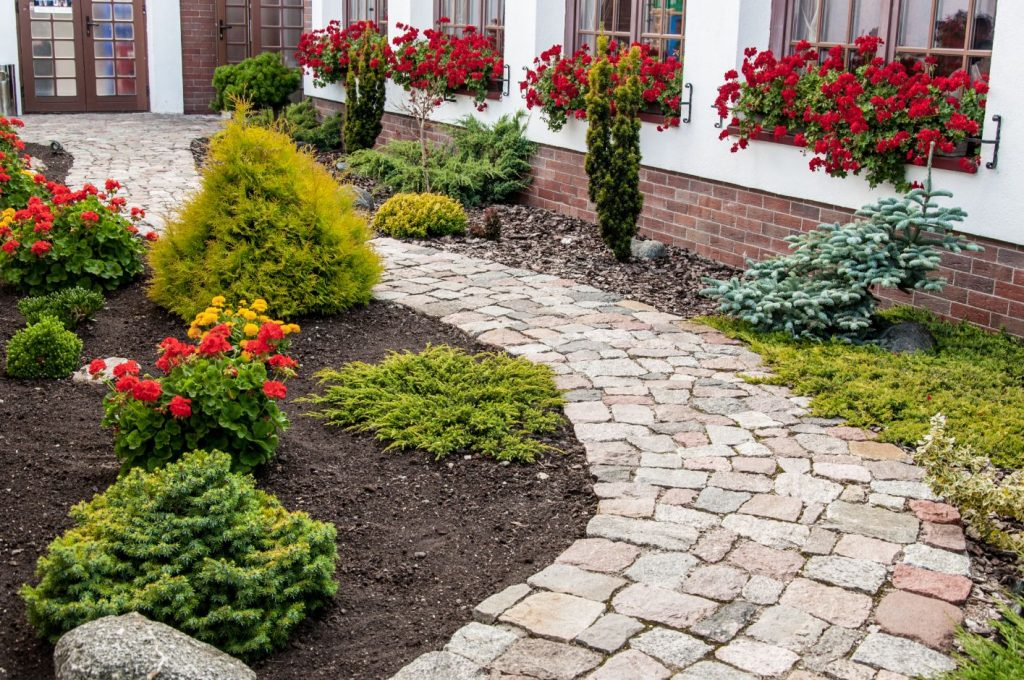 Beautiful stone path done by the team here at Landscaping Madison WI